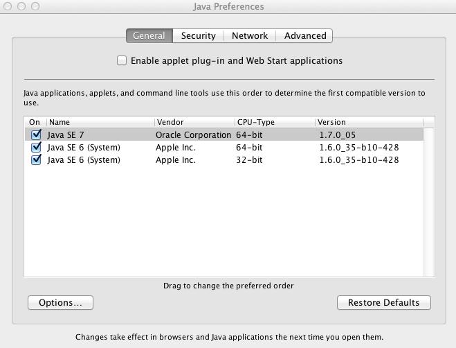 java se 6 mac os x 10.8.1
